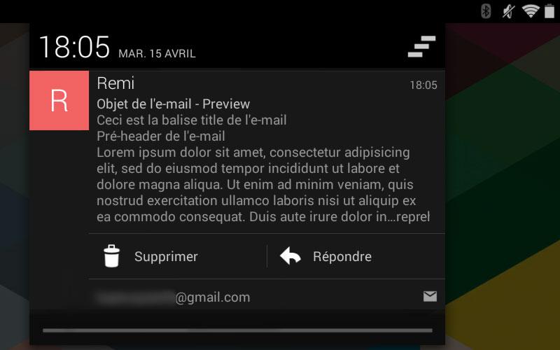 Une notification de l'application E-mail sous Android 4.4
