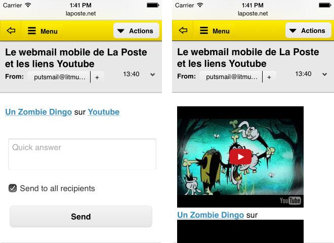 Un e-mail transformé par La Poste avec des liens Youtube