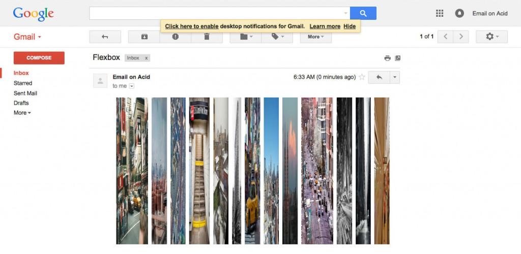 Le rendu de Flexbox dans Gmail
