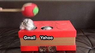 L'intégration d'e-mails vu comme un jeu de la taupe avec des chatons.