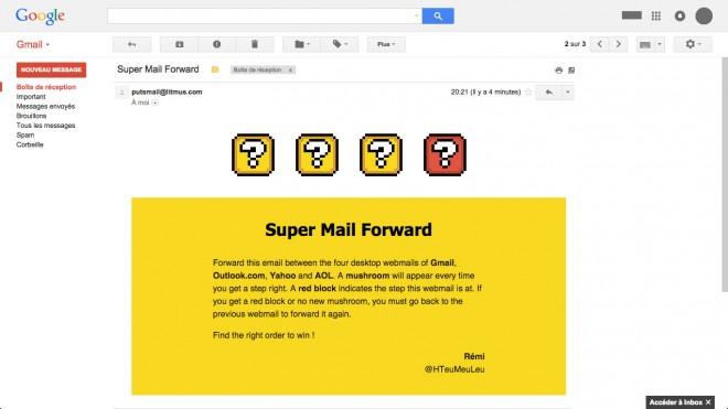 Rendu du mail lorsqu'il n'est pas envoyé dans le webmail attendu.