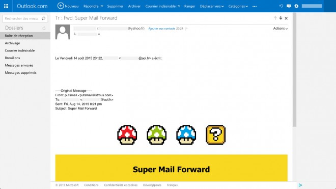 Rendu dans Outlook.com