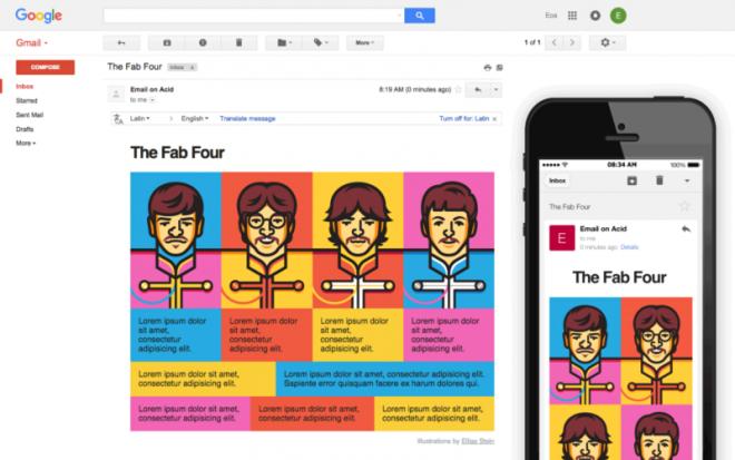Exemple des Fab Four sur Gmail
