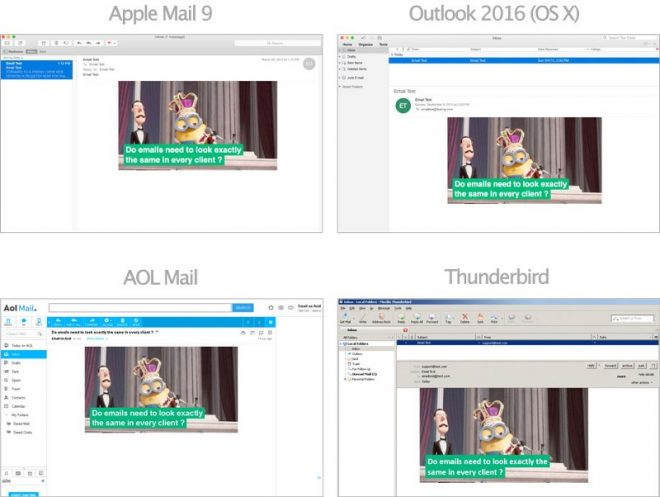 Captures d'écrans dans Apple Mail 9, Outlook 2016 (sur OS X), AOL Mail et Thunderbird.