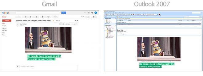 Captures d'écran dans Gmail et Outlook 2007.