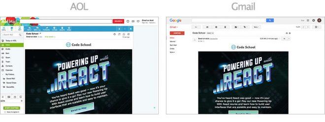 Captures d'écrans sur AOL et Gmail