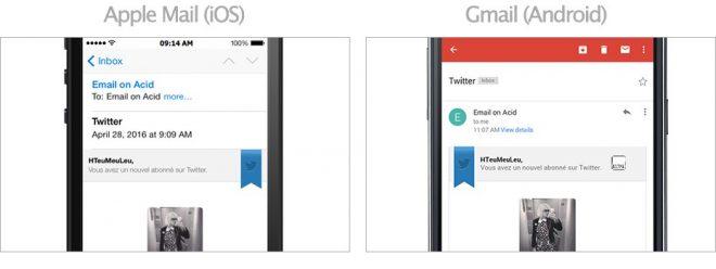 Captures d'écrans sur Apple Mail (iOS) et Gmail (Android)