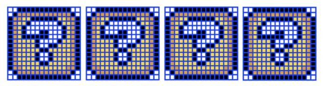 4 grilles de 256 cellules avec les blocs d'objets de Super Mario World