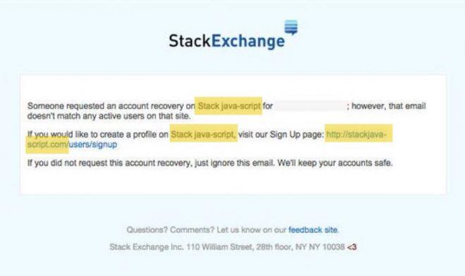 Un email de Stack Overflow