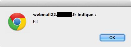 Une alerte JavaScript déclenchée depuis un webmail