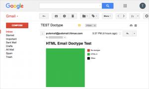 Sur le webmail desktop de Gmail, doctype HTML5.