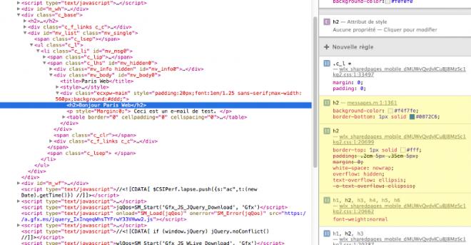 Capture d'écran de l'inspecteur web montrant les styles par défaut d'Outlook.com