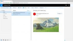 Un e-mail dans Outlook.com