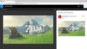 La fenêtre d'aperçu d'image d'Outlook.com