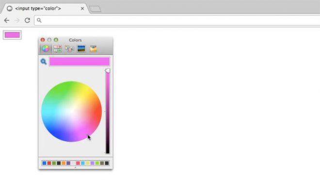 Un exemple de pipette colorimétrique dans Chrome sur macOS